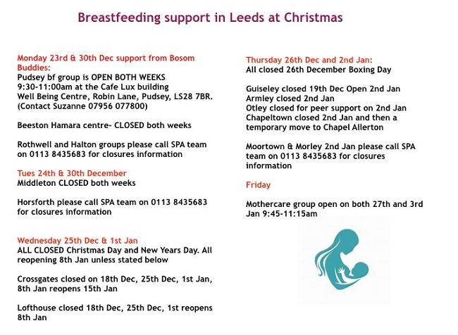 West Leeds: Breastfeeding support continues over Christmas