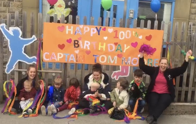 Farsley youngsters mark Captain Tom's 100th birthday with special message