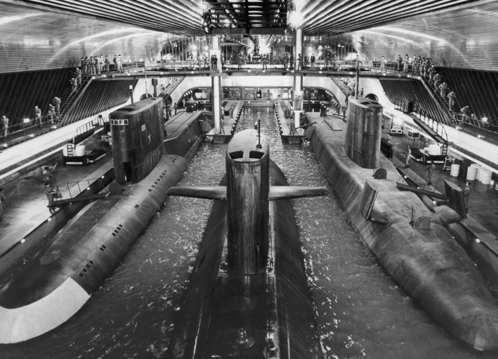 Submarines at the then world's largest film set at Pinewood Studios built for The Spy Who Loved Me