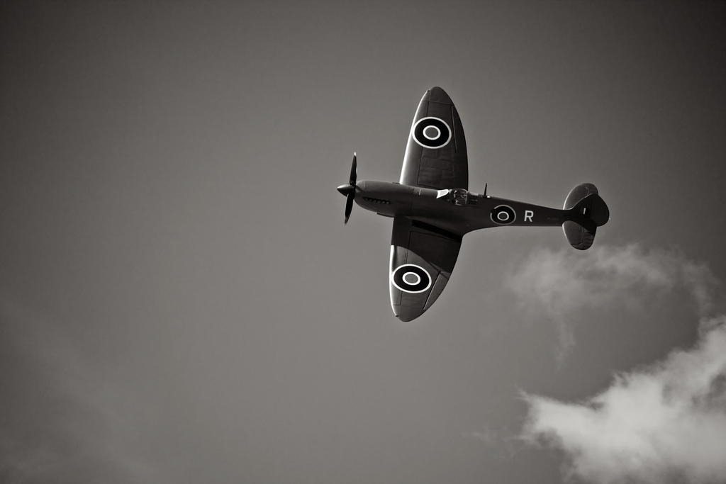 Supermarine Spitfire with Merlin in flight