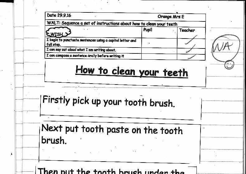 teeth writing paper