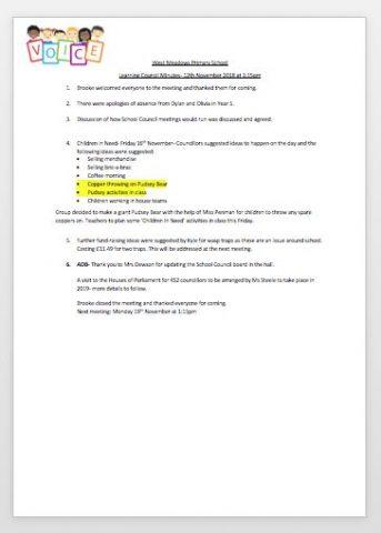 Learning Council Minutes- 12th November 2018 at 1:15pm