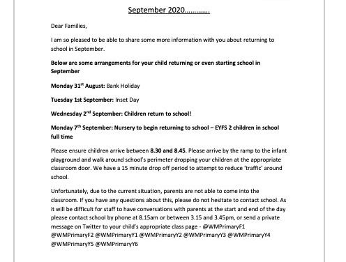 Return to School September 2020