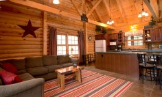 Pentwater Michigan Cabin LIving and Kitchen