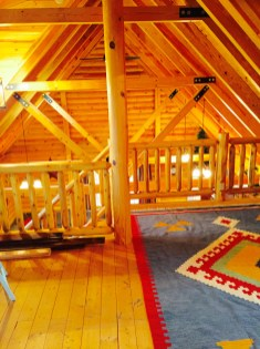Pentwater Michigan Vacation Rental Cabin Rug and Beam View