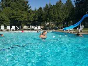 Shared heated pool is just a few-minute walk from the cottage