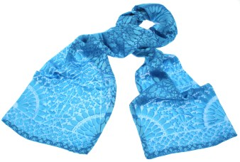 Blue Satin Devoré Scarf