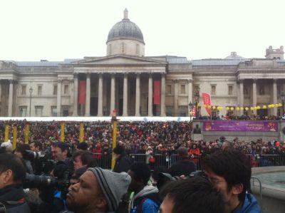 the crowds in Trafalgar Square/Qiwei Wang