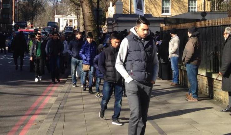 Muslims leaving friday prayers in Regents Park mosque, London. By Hussein Abdel Fattah.