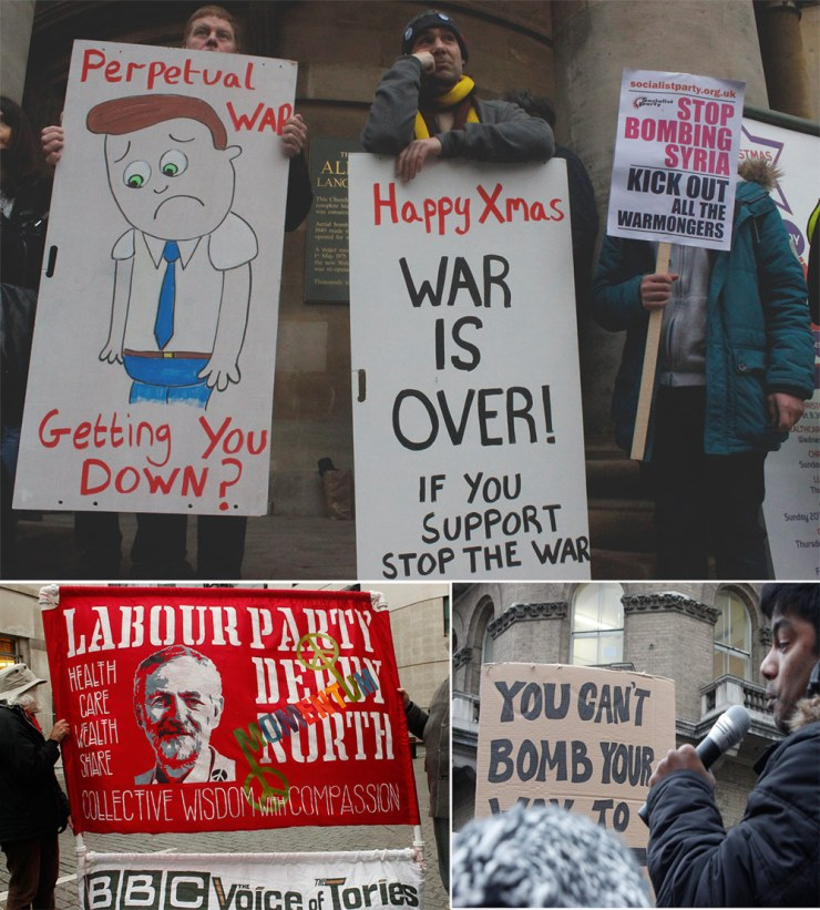 Homemade placards used by some of the people marching through the streets of London during the recent 'Stop bombing Syria' demonstration.