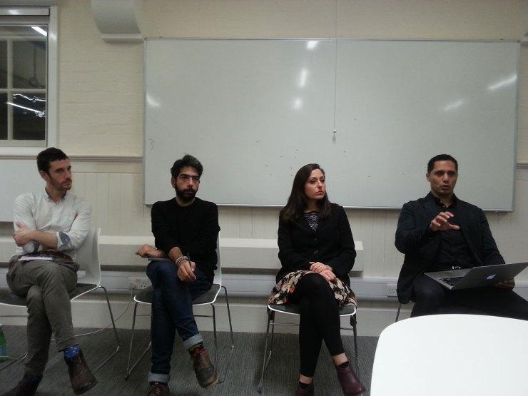 Panel discussing Egypt revolution at the London School of Economics. From left to right: Jack Shenker, Zeyad Salem, Nadine Marroushi and Dr Omar Ashour. (Photo: Adelaide Arthur)