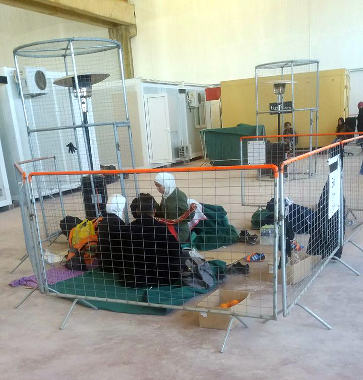 People left to wait for processing on a floor for 3 days in Vial hotspot in Chios Photo by Éamonn Liam Maguire