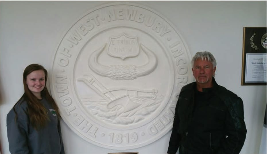Jennifer Nelson (left) and Fred Hardy (right) with the blank fresco. The finished product will hang in the entryway of the West Newbury Safety Complex.