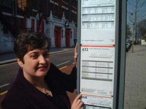 Val Shawcross at West Norwood station bus stop