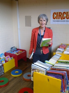 Jackie Meldrum at the temporary library in Parkhall Road