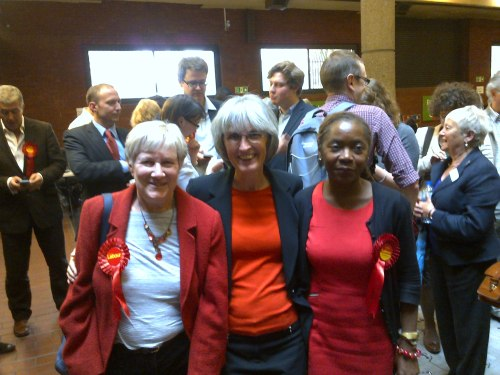 Newly elected councillors Jane Pickard , Jackie Meldrum & Sonia Winifred at the count.