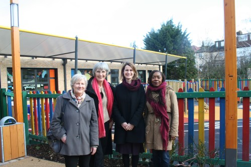 Councillors visiting the new school with Helen Hayes