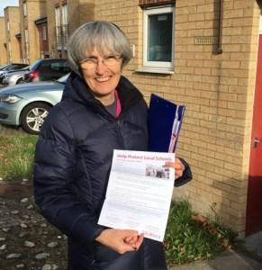 Jackie Meldrum delivering leaflets