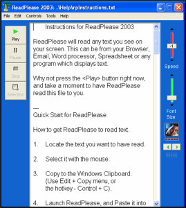 Screenshot of ReadPlease 2003