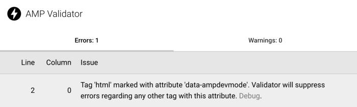 AMP Validator Extension showing Dev Mode error