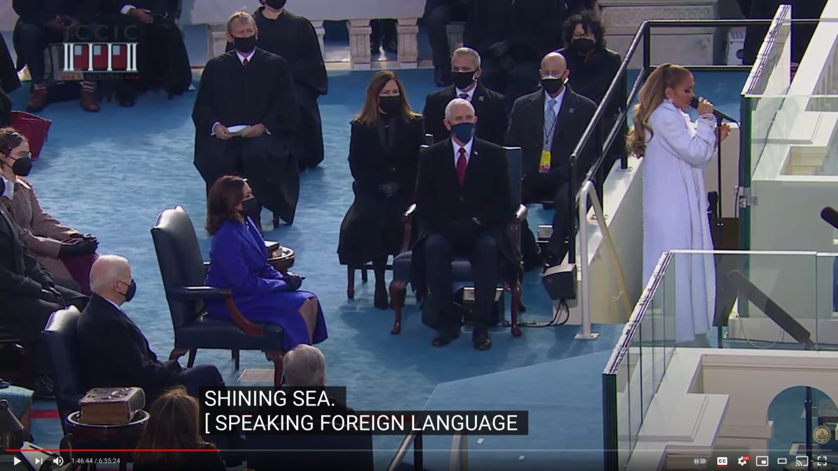 "Caption of Jennifer Lopez speaking Spanish saying ""speaking foreign language"""