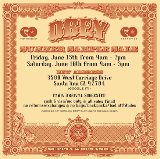 OBEY CLOTHING SUMMER 2007 SAMPLE SALE