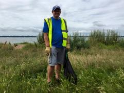 John Martin at the Big Beach Clean Up 2016. John founded the Friends of Weston Shore in 2009.