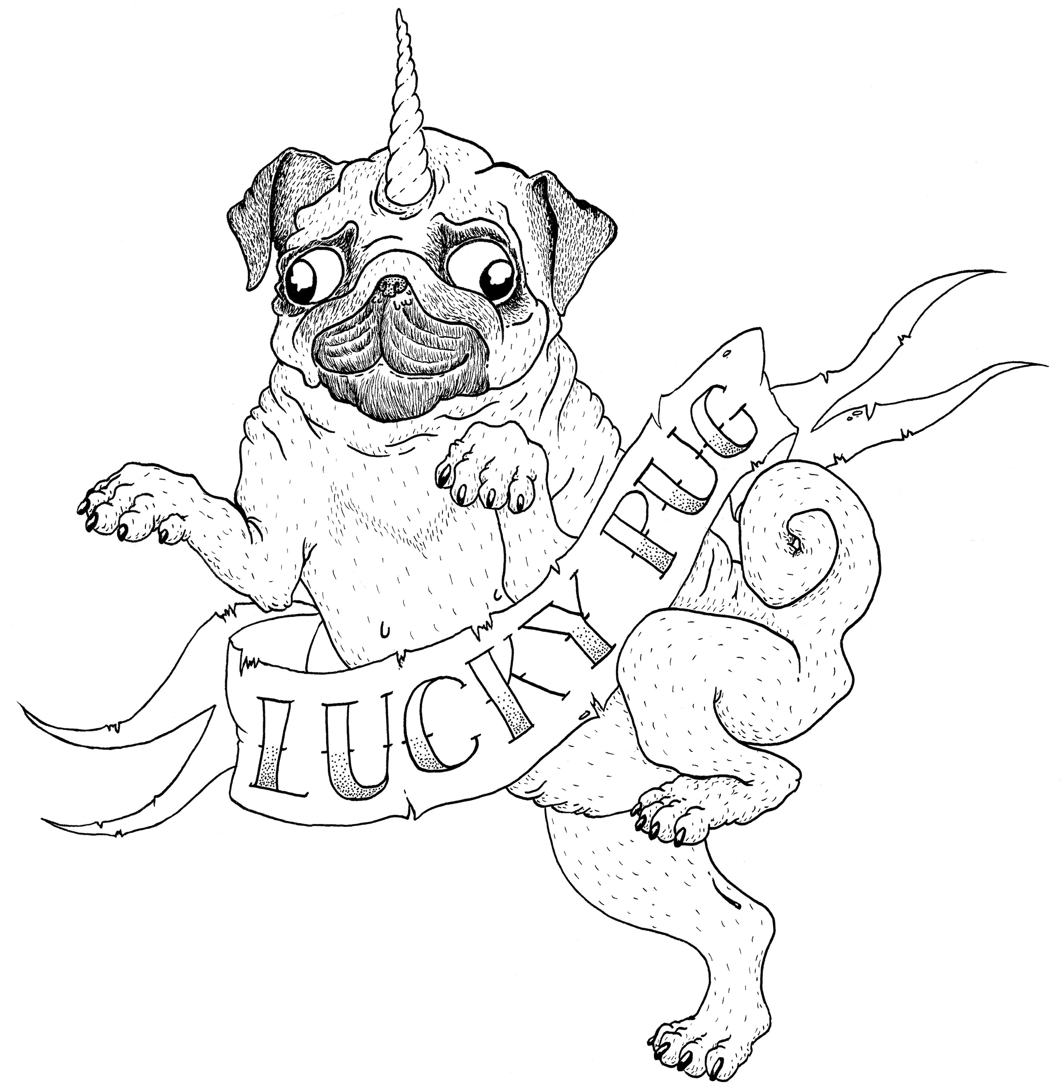Lucky Pug T Shirt Design