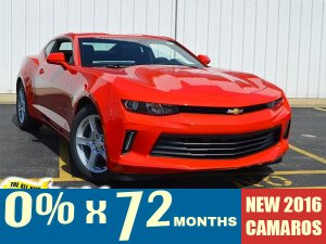 0% financing for up to 72 months on all new 2016 Camaro and Trax models