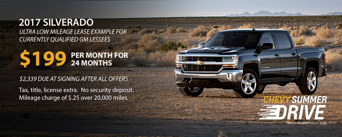 Chevy Silverado lease offers for August 2017
