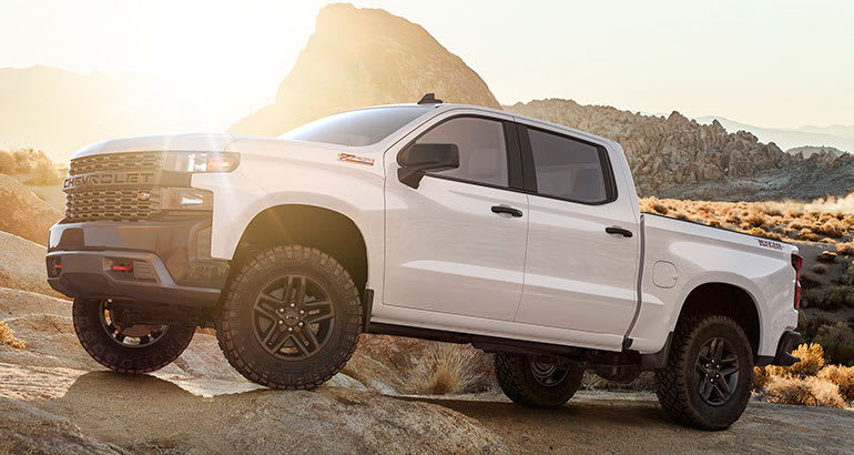 2019 chevrolet silverado shown in white