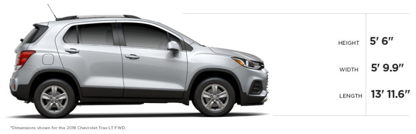 2018 chevrolet trax dimensions size