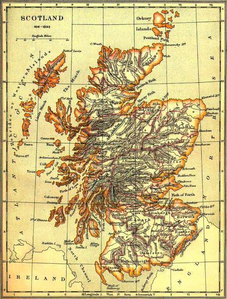 Map of Scotland, 1641-1892 (from mackenziefamilytree.com)
