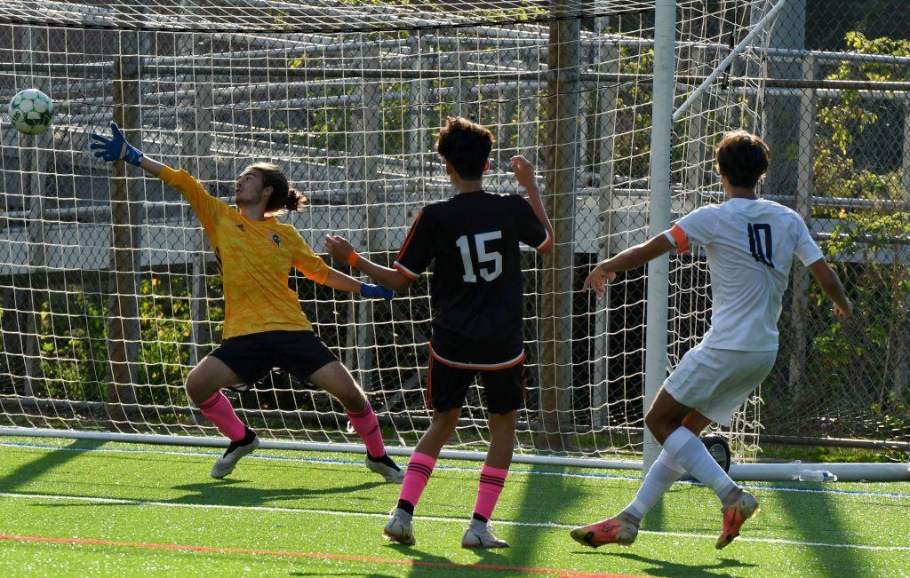 Murilo Moreno scores against Stamford - Photo Mark Sikorski