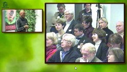 Illustration: deltagare ställer fråga till talaren, båda i bild