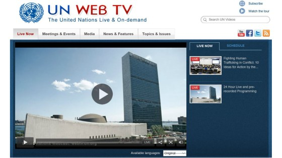 Screen grab of UN Web TV home page