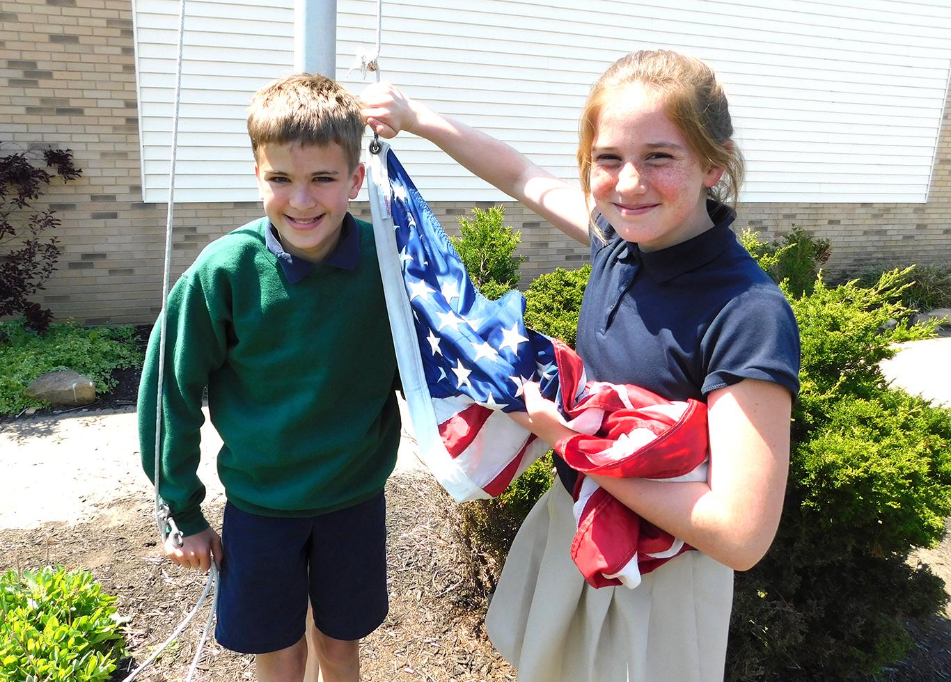 Sixth Graders on Flag Duty