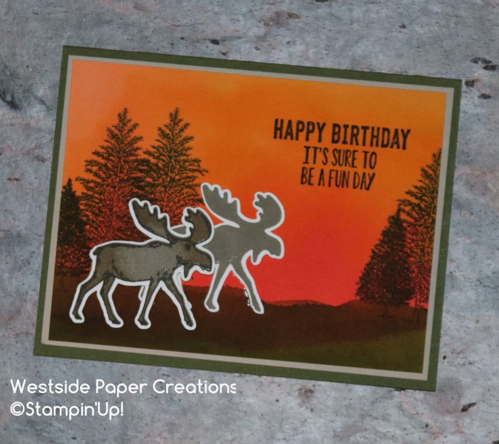 Watercolor birthday card using the Merry Moose Stamp Set