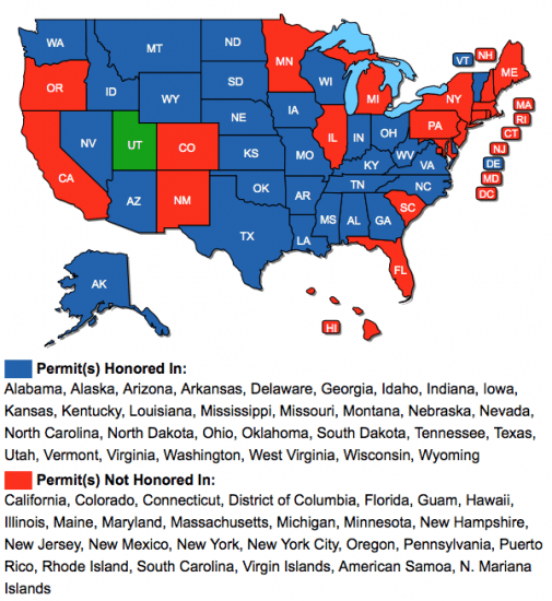 Gun Laws By State Map 2018.Utah Multi State Concealed Carry Class Westside Rifle Pistol Range