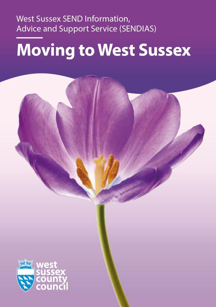 Picture of front cover of Moving to West Sussex SENDIAS leaflet