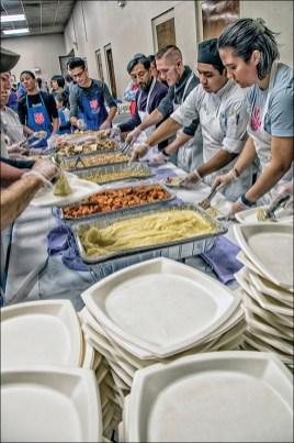 Thanksgiving Volunteers on Servicing Line