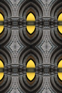 Computer altered abstract of curved arche columns. Two or more layers or generations were used to enhance, alter, manipulate the image, creating an abstract surrealistic mirrored symmetry.
