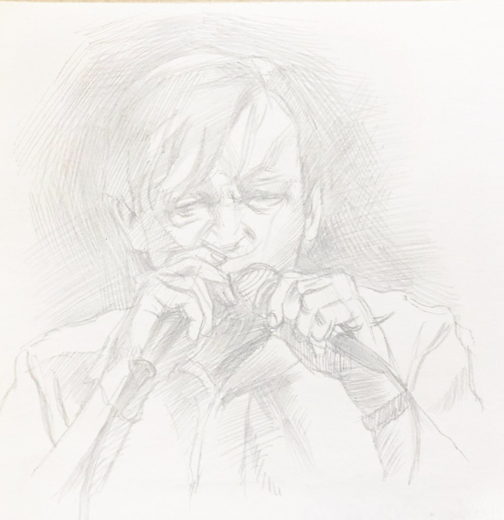 Drawing of Mark E. Smith