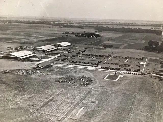 Aerial photograph of the Ponca City aerodrome, 1943