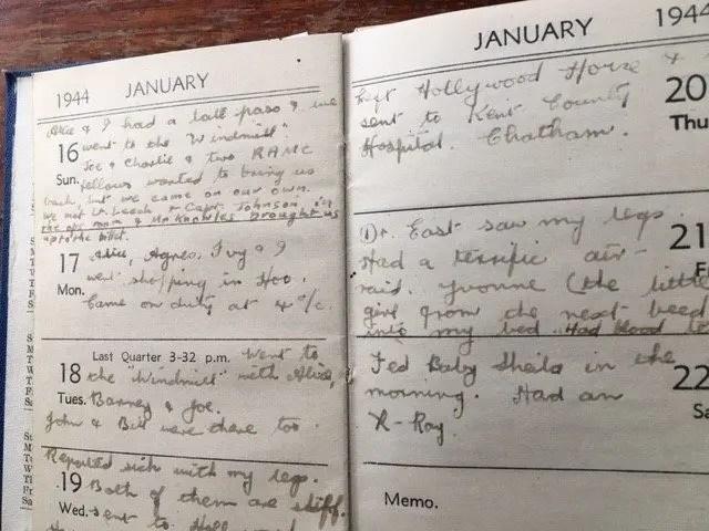 12. Enid Lewis. January 1944. Friday 21st January 1944. Had a terrific air raid_