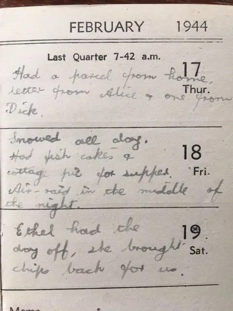 13. Enid Lewis. Friday 18th February 1944. Air raid in the middle of the night_