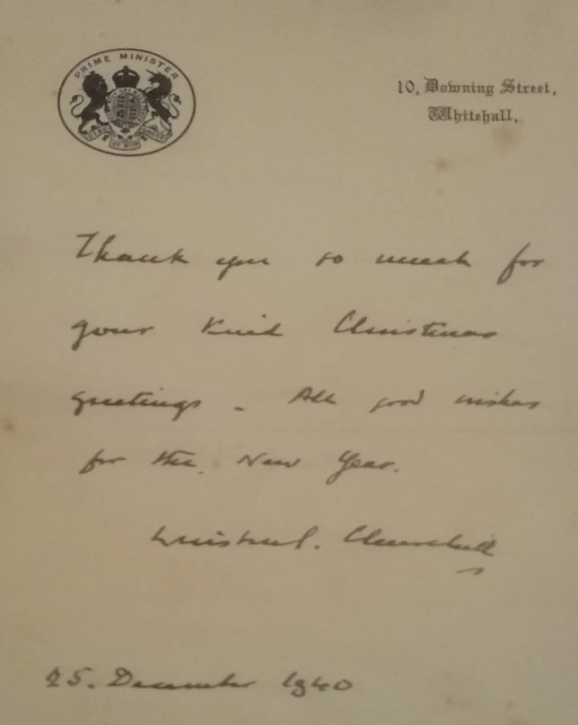 Letter from the Prime Minister, Winston Churchill, received by 8yr old twins, Don and Dennis Davies. Christmas 1940