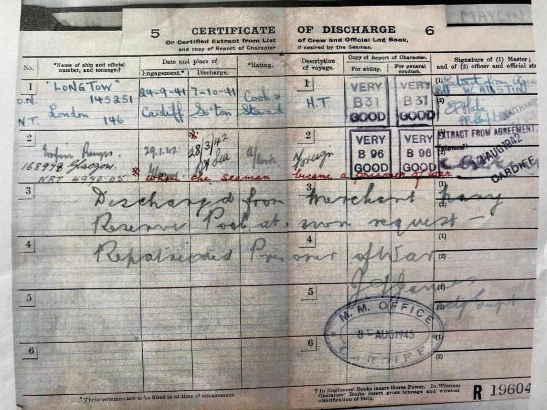 Douglas Maylin. 1945. Certificate of Discharge from the Merchant Navy. Note the entry dated 28.3.1942 which reads when the seaman became a prisoner of war