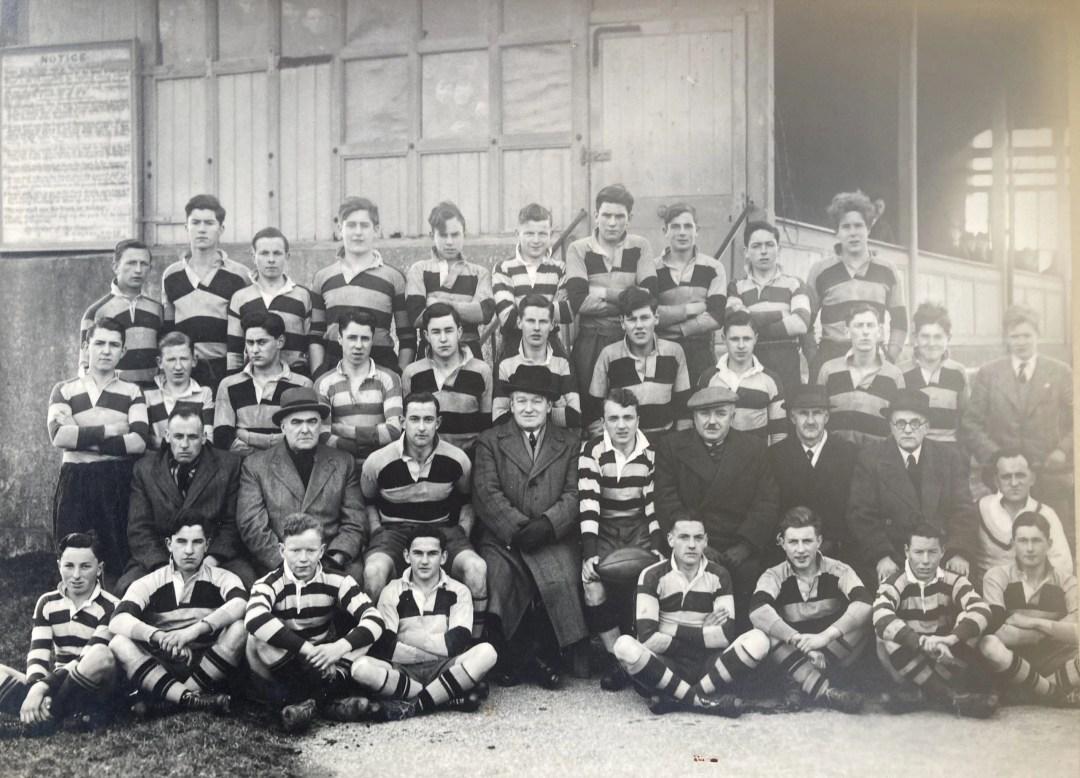 Tony Bird. Carmarthen & Rural District Warship week, 1942. Wycliffe College XV, & Queen Elizabeth Grammar School XY. Photo dated Saturday 7th March 1942.