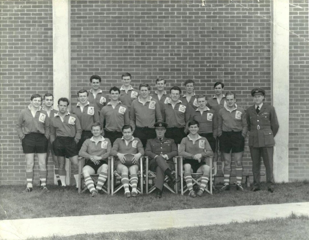 Team photograph showing the RAF Oakington rugby team during the 1960s.